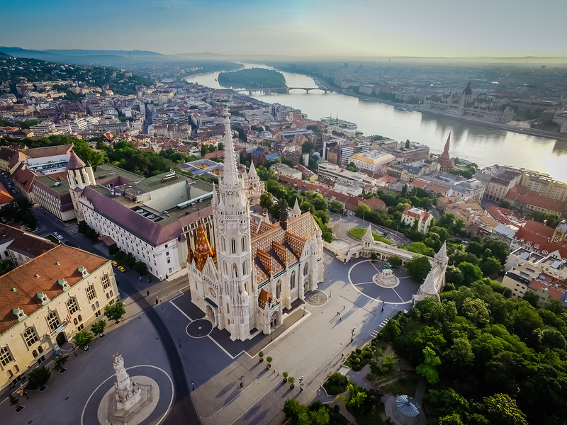 Drone view of Matthias Church in Budapest