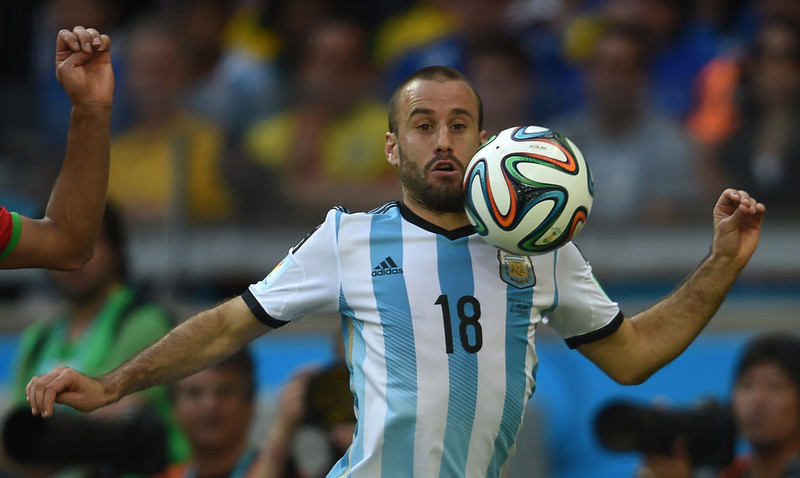 . Argentina\'s forward Rodrigo Palacio controls the ball during a Group F football match between Argentina and Iran at the Mineirao Stadium in Belo Horizonte during the 2014 FIFA World Cup in Brazil on June 21, 2014.  (PEDRO UGARTE/AFP/Getty Images)