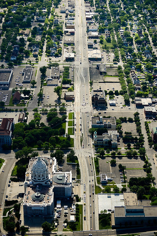 . A view looking west over the State Capitol down University Avenue in St. Paul. (Pioneer Press: Ben Garvin)