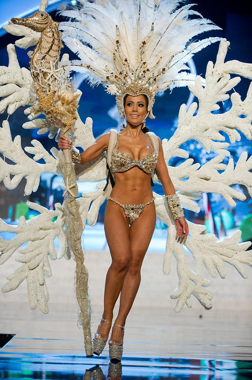 . Miss Honduras 2012, Jennifer Andrade, performs onstage at the 2012 Miss Universe National Costume Show on Friday, Dec. 14, 2012 at PH Live in Las Vegas, Nevada. The 89 Miss Universe Contestants will compete for the Diamond Nexus Crown on Dec. 19, 2012. (AP Photo/Miss Universe Organization L.P., LLLP)