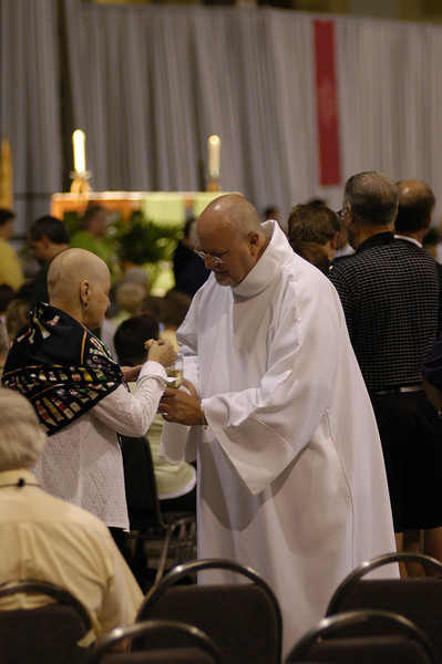 Communion service during Thursday's worship services.