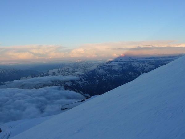 Sunrise and Elbrus shadow on horizon.
