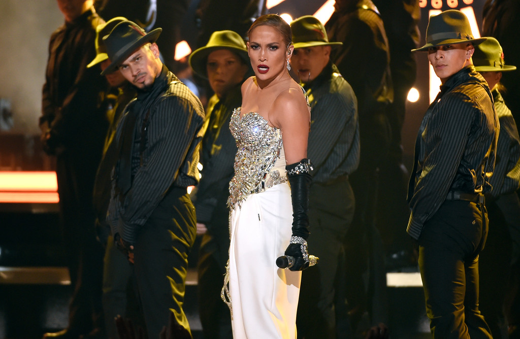""". Jennifer Lopez performs \""""Dinero\"""" at the Billboard Music Awards at the MGM Grand Garden Arena on Sunday, May 20, 2018, in Las Vegas. (Photo by Chris Pizzello/Invision/AP)"""