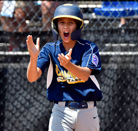8/10/2019 Mike Orazzi | Staff Rhode Islands Barrington Little League's James Caldarella (22) celebrates during a win Saturday over New Hampshires Goffstown Junior Baseball Little League at Breen Field in Bristol, Conn., during the New England Regional and advancing to the Little League World Series in Williamsport PA.