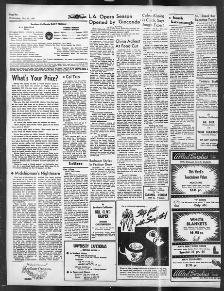 Daily Trojan, Vol. 39, No. 28, October 22, 1947