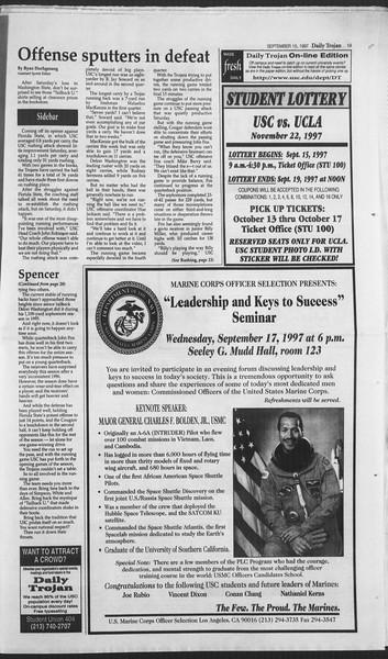 Daily Trojan, Vol. 132, No. 12, September 15, 1997