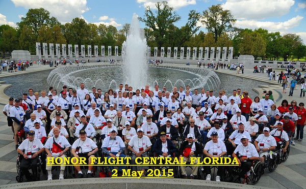 GROUP SHOT AT WW II MEMORIAL - 2 MAY 2015