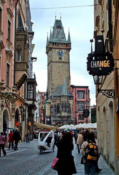 Entering the Old Town Square: the Clocktower from Celetna St.