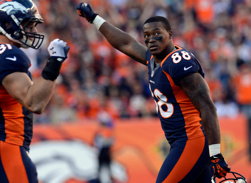 . Demaryius Thomas celebrates his touchdown against the Chargers. (Joe Amon, The Denver Post)