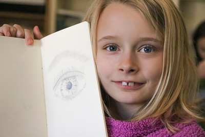 LS 3rd Art Class - Eye Drawings 2-19-20