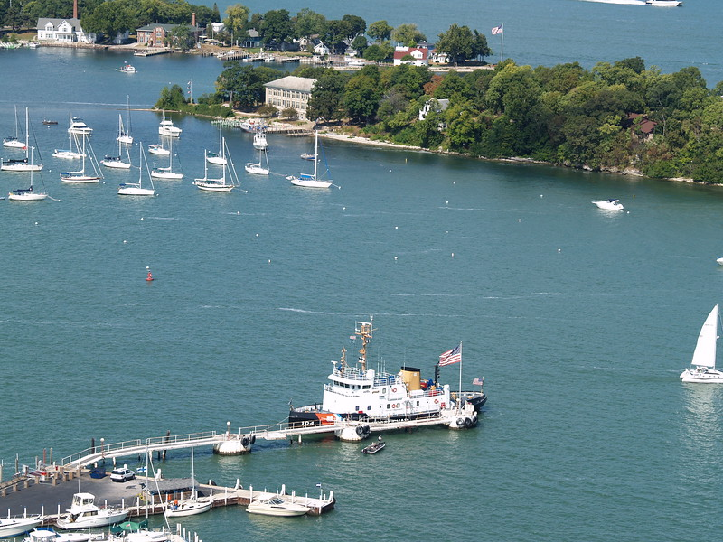 Put-in-Bay harbor from the Monument deck - the Coast Guard ship took representatives and delegates out to lay a wreath at the site of the Battle of Lake Erie (2008).