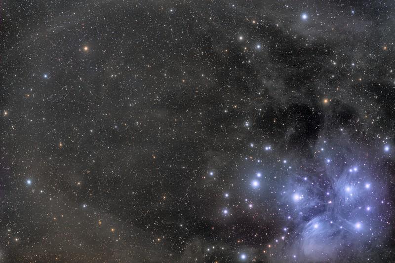 "Other view of Pleyades.M45<br />  SBIG STL 11000M C1 , Mount: Takahashi EM200 Temma2 , TMB 130/780 with X0,75 M82 Riccardi Reducer. Baader 50mm unmount Filters LRGB (10 x 600"" L) RGB for stars (10 x 300"" each RGB channel), <br /> at-15ºC. Pixinsight proceced. January 2013 , Mairena del Aljarafe - Sevilla - Spain"
