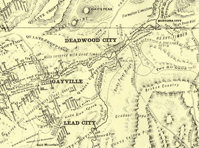 """A closeup of the Gayville area from an 1877 map of the northern Black Hills region of Dakota Territory.  It was created from a survey done by George Henckel, Deputy United States Surveyor.          Return to <a href=""""http://lawrencecountyhistory.blogspot.com/2009/11/so-they-hanged-bill-gay.html""""><i> So they hanged Bill Gay</i></a>  Return to <a href=""""http://lawrencecountyhistory.com""""> Historical Marker</a>"""