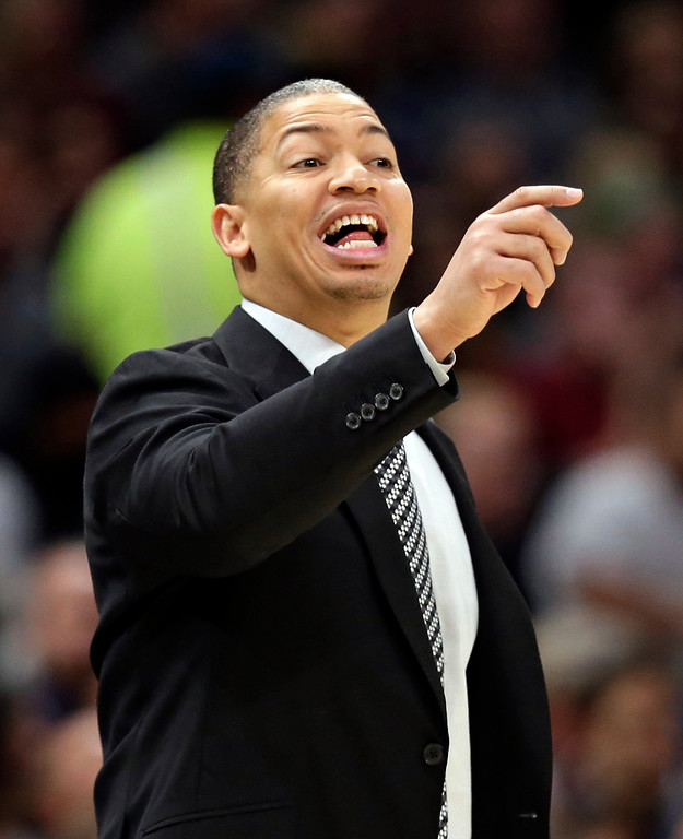 . Cleveland Cavaliers coach Tyronn Lue yells instructions to players during the second half of the team\'s NBA basketball game against the Brooklyn Nets, Wednesday, Nov. 22, 2017, in Cleveland. The Cavaliers won 119-109. (AP Photo/Tony Dejak)