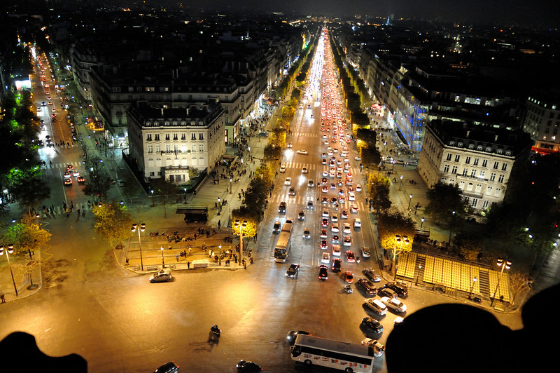 The Champs-Elysées from the top of the Arc de Triomphe.