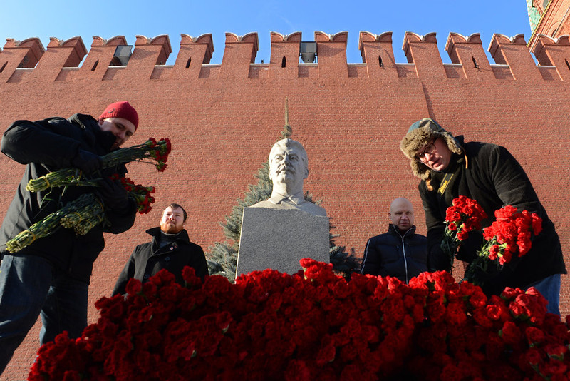 . Russian Communists and their supporters lay flowers at the tomb of Soviet dictator Josef Stalin to mark the 60th anniversary of his death at the Red Square in Moscow on March 5, 2013.  KIRILL KUDRYAVTSEV/AFP/Getty Images