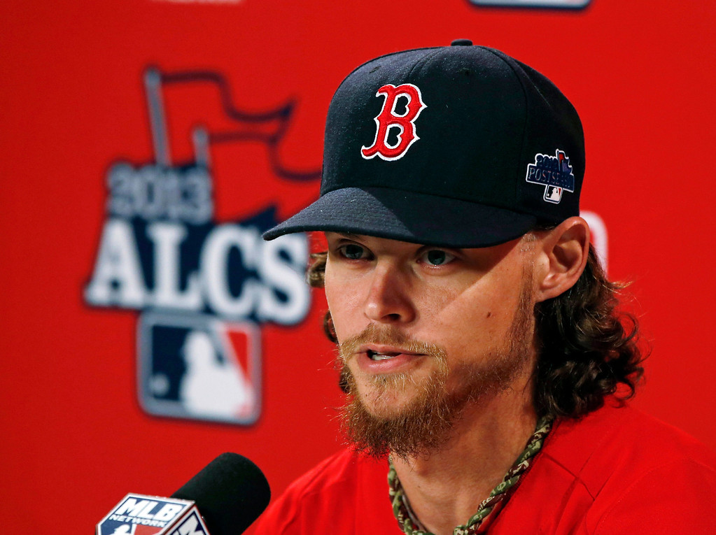 . Boston Red Sox starting pitcher Clay Buchholz speaks during an availability before Game 1 of the American League baseball championship series Saturday, Oct. 12, 2013, in Boston. Buchholz will be the Red Sox\'s starting pitcher in Game 2 on Sunday. (AP Photo/Elise Amendola)