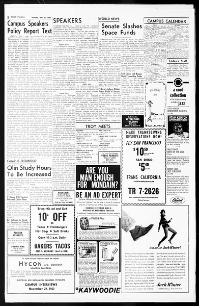 Daily Trojan, Vol. 55, No. 43, November 21, 1963