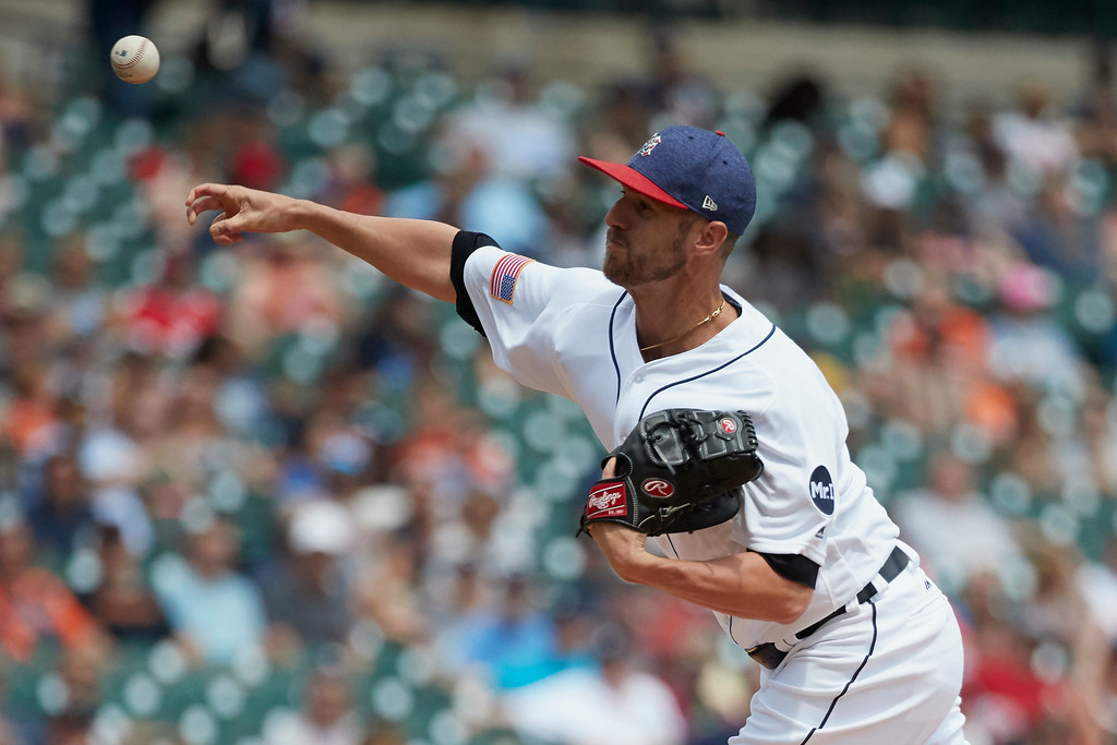 . Detroit Tigers relief pitcher Shane Greene (61) throws against the Cleveland Indians during the seventh inning in the first baseball game of a doubleheader in Detroit, Saturday, July 1, 2017. (AP Photo/Rick Osentoski)