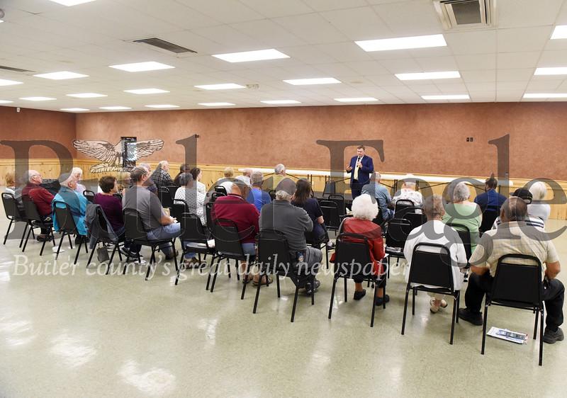 Harold Aughton/Butler Eagle: Senator Joe Pittman address the crowd in the Saxonburg Muesum's Copper Hall.