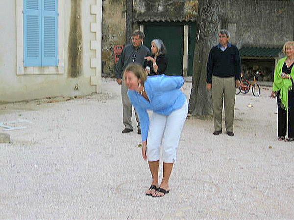 Julie playing pietonk at Chateau de Varenne
