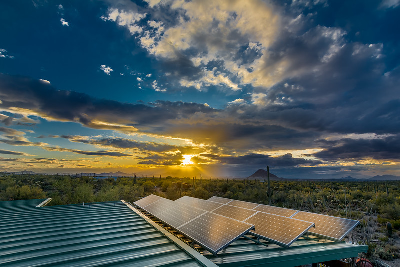 Solar Panels and Sunset #3