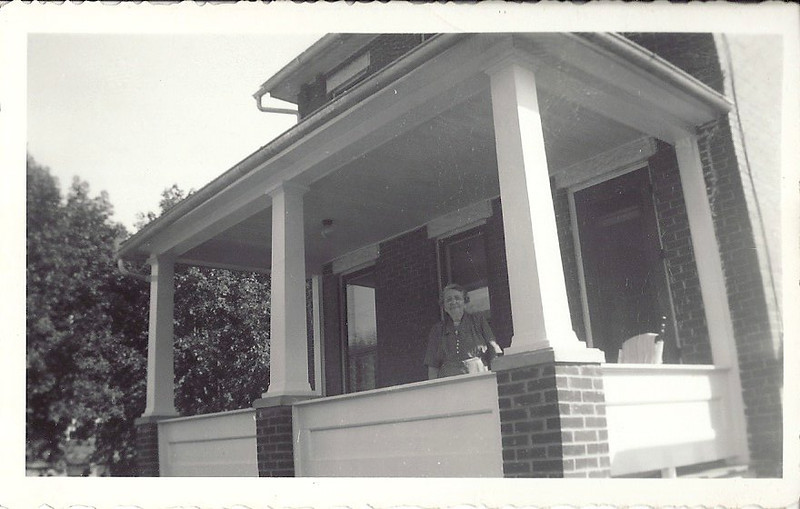 Edna Brown Carl on her new front porch
