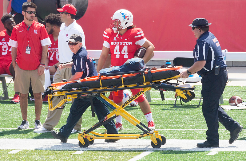 Gurney for Tech's defensive back Vaughnte Dorsey who has been hurt.
