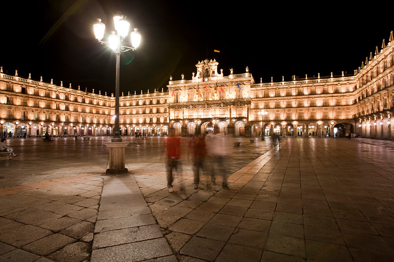 Plaza Mayor (Main Square) by night, town of Salamanca, autonomous community of Castilla and Leon, Spain