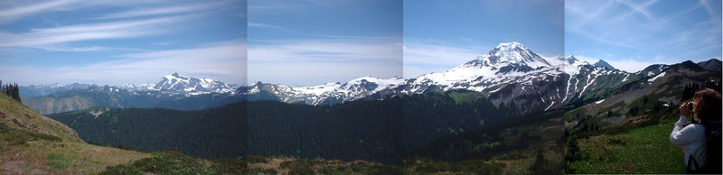 Joel made this pano from one of hikes up at Mt. Baker. Me on the right.
