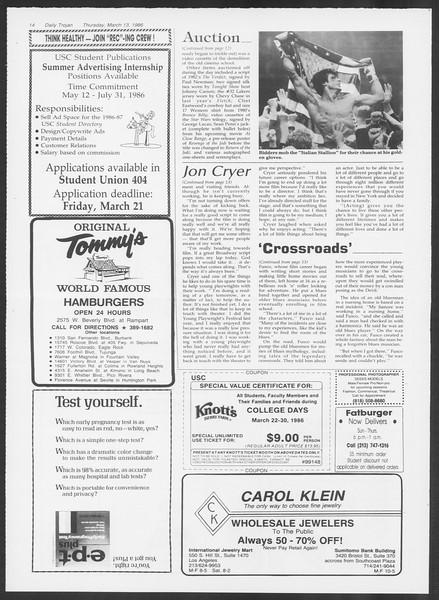 Daily Trojan, Vol. 100, No. 43, March 13, 1986