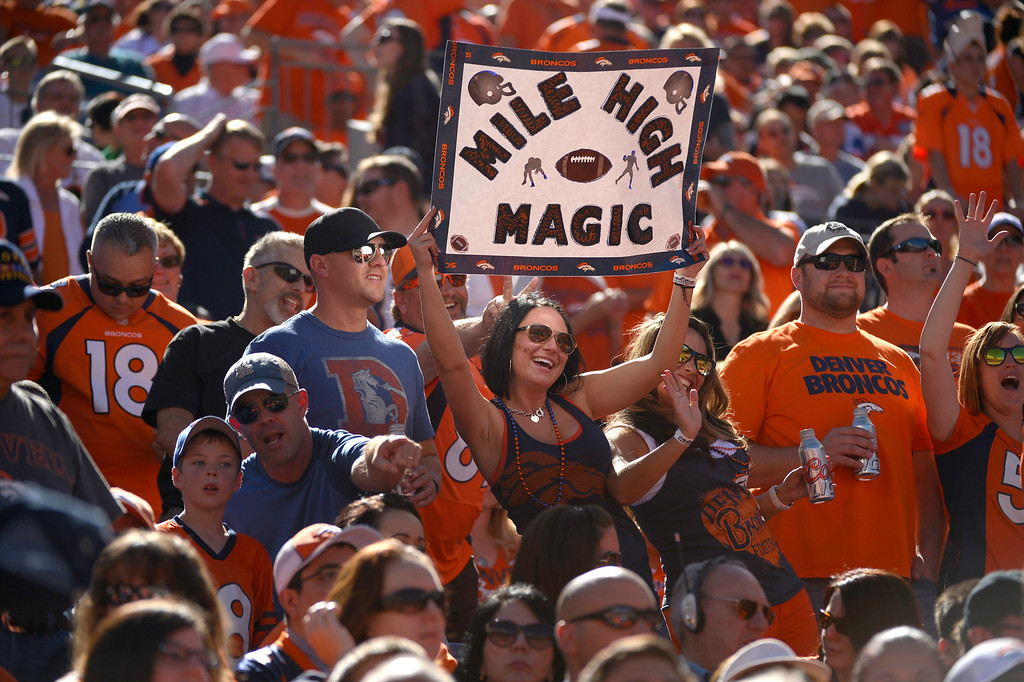 . Denver Broncos fans at the start of the game against the Philadelphia Eagles at Sports Authority Field at Mile High Sept. 29, 2013. (Photo by Joe Amon/The Denver Post)
