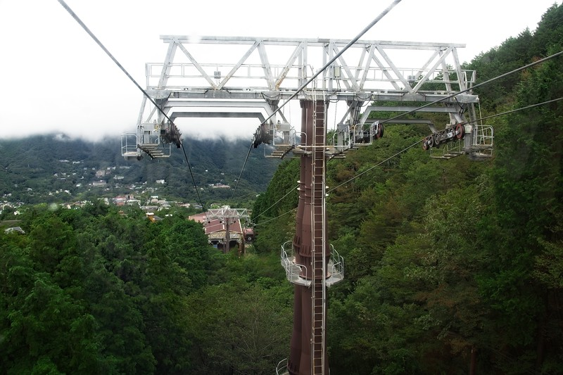 """the Hakone Ropeway is 4 km long linking Souzan with Togendai on the Lake Ashi Shore by crossing the """"Great Boiling Valley"""" of Owakundai."""
