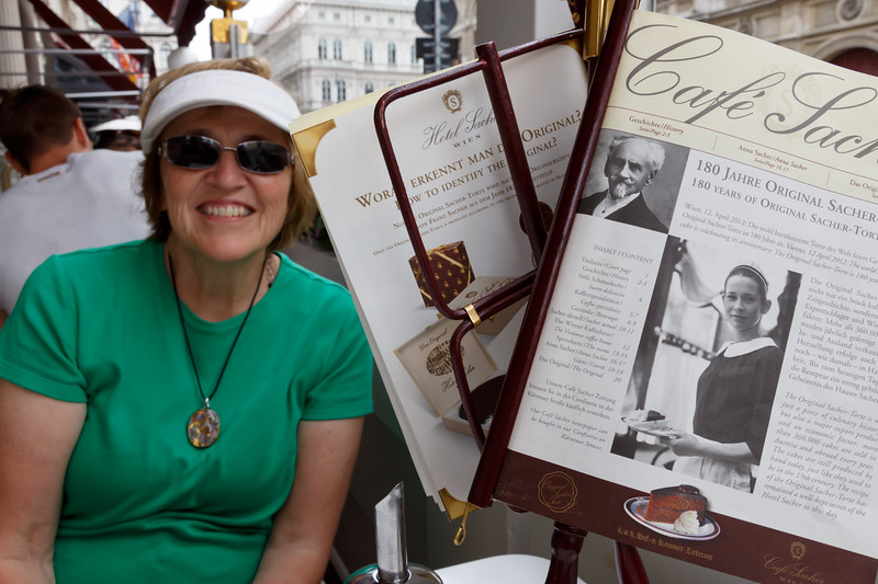 Edie sampling the famous chocolate Sacher-Torte  at Hotel Sacher