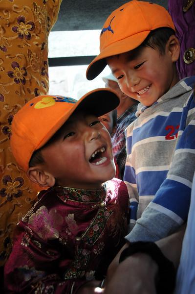 Boys on a bus in Ladakh