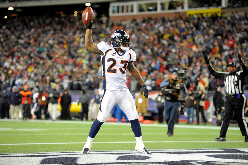 . Denver Broncos running back Willis McGahee (23) after scoring a touchdown in the first quarter. Denver Broncos vs New England Patriots AFC Division Playoff game.  Saturday January 14, 2012 at Gillette Stadium.  John Leyba, The Denver Post
