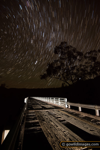 15 minutes and a shooting star on McKillops Bridge, Snowy River NP. With a 255m span – the longest metal-truss, wooden bridge in the state, first built in 1931 and rebuilt in 1936 after a flood