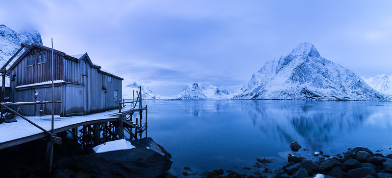 Blue Evening Fishing House