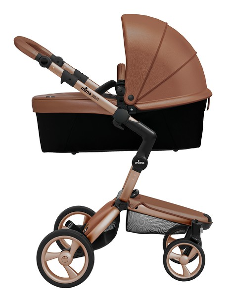 Mima_Xari_Product_Shot_Camel_Flair_Rose_Gold_Chassis_Black_Carrycot_Side_View.jpg