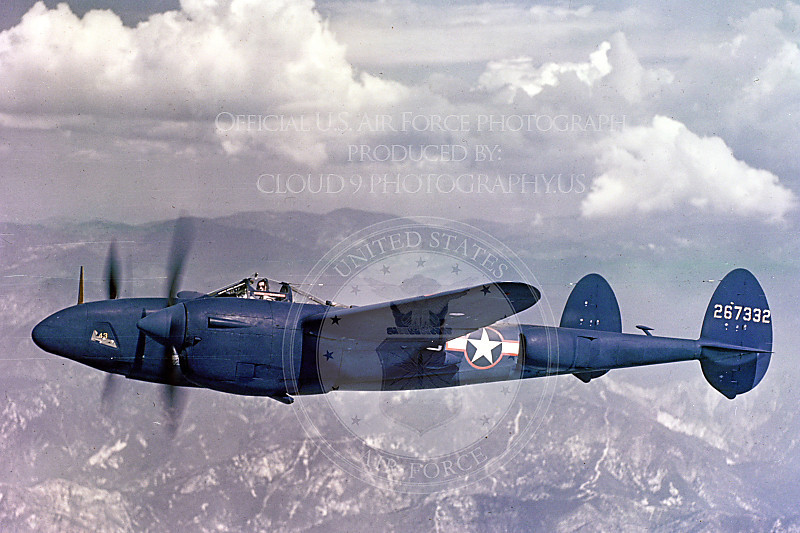 P-38 00026 A flying dark blue Lockheed P-38 Lightning, military airplane picture, Official USAF Photograph.JPG