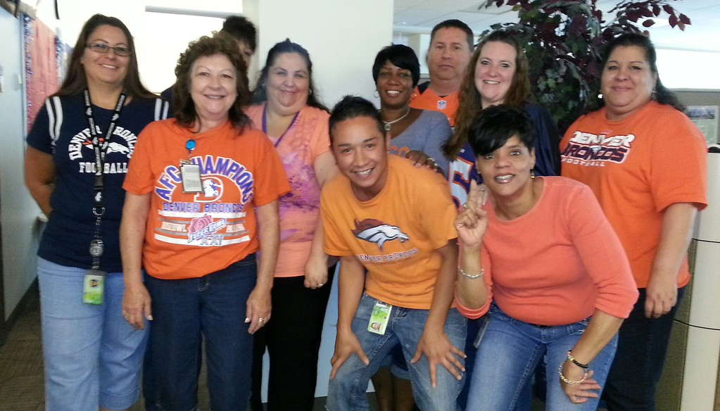 . Your 311 crew cheering on the Broncos! Photo by Marilyn Raiders Sanders