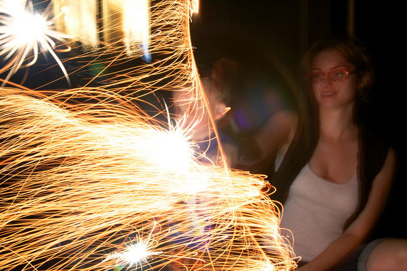 Having fun with some sparklers outside of the David house in Mattoon, Illinois on September 24, 2010.  (Jay Grabiec)