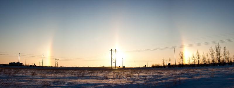 Sun dogs as the sun rises
