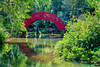 Reflection of the high-arch, vibrant Moon bridge creates the illusion of a circle.  - Bellingrath Gardens, Alabama