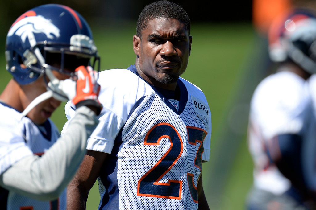 . Quentin Jammer (23) looks on during drills during practice August 26, 2013 at Dove Valley. (Photo by John Leyba/The Denver Post)