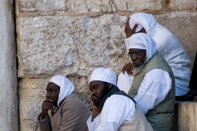 Men at the Temple Mount in Jerusalem, Israel
