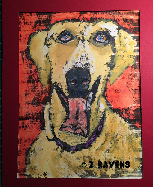 Yellow lab in red, gouache and ink resist