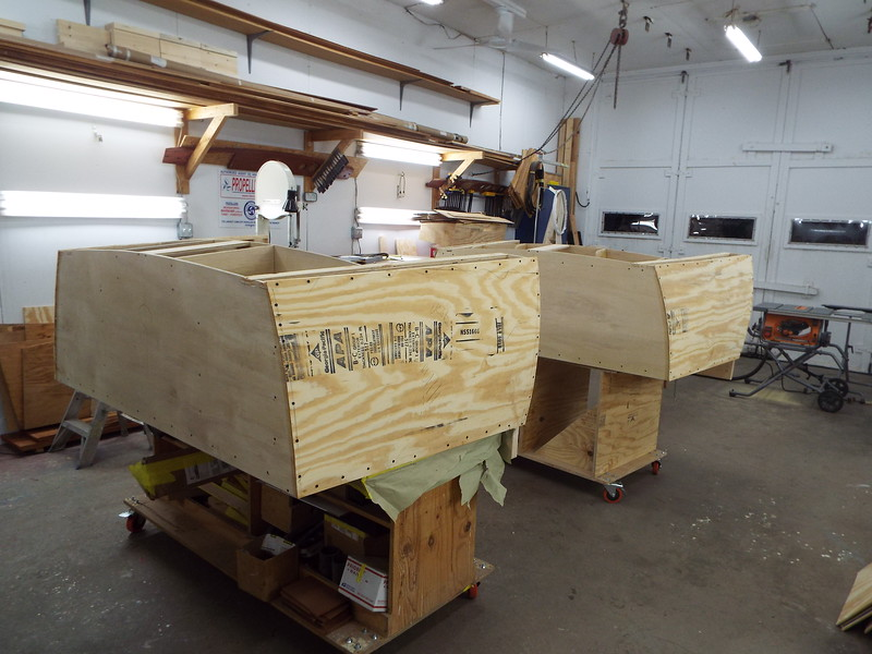 Starboard sides with plywood skin applied.