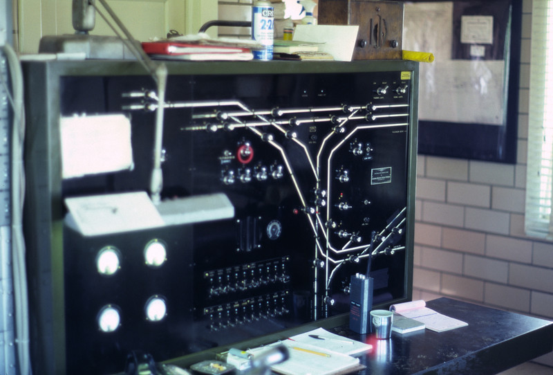 Grant tower track control board. May 1983. (Don Strack photo)