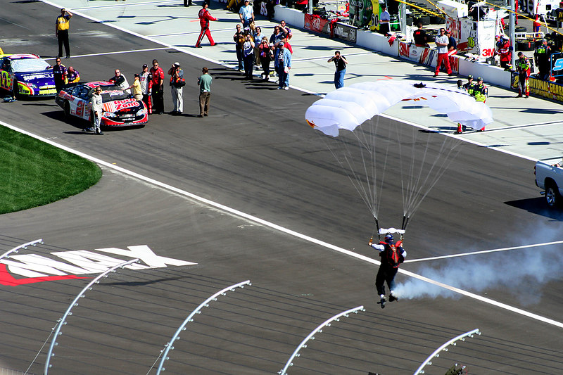 Parachute guy at the NASCAR race on the weekend at Las Vegas Motor Speedway